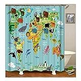 AnazoZ Duschvorhang Anti-Schimmel, Wasserdicht Vorhänge an Badewanne Antibakteriell, Bad Vorhang für Dusche 3D Tiere Weltkarte, 100% PEVA, inkl. 12 Duschvorhangringen 120 x 180 cm