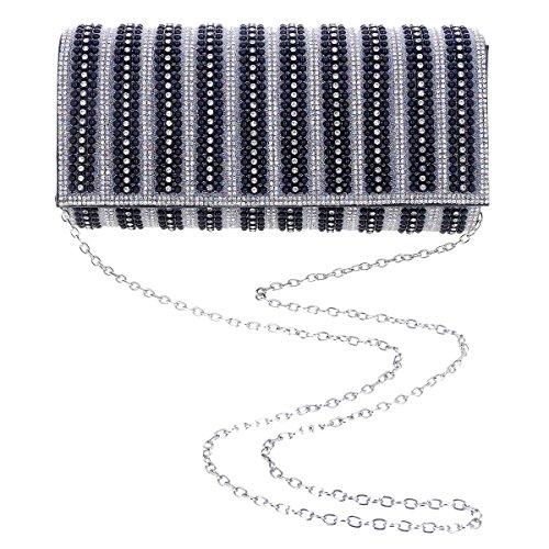 Damara Pochette Femme Sac de Soirée Synthétique Rivet Strass Rectangle Léger Enveloppe noir