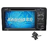 Ohok 7 Pollici Android 8.0.0 Oreo Octa Core 4G+32G 2 Din In Dash Autoradio Schermo di Tocco Lettore DVD Navigatore GPS Con Bluetooth Per Audi A3 2003-2013 con piccola telecamera di retromarcia