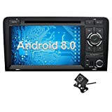 Ohok 7 Pulgadas 2 DIN Autoradio Android 8.0 GPS Navegador Reproductor DVD Oreo Octa Core 4GB Ram 32GB ROM Soporta Bluetooth WiFi AV-IN para Audi A3 2003-2013 con Camara Trasera