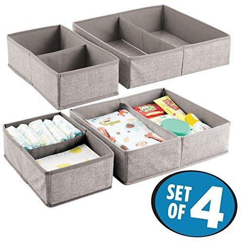 mDesign 4er-Set Baby Organizer – Aufbewahrungsbox mit je 2 Fächern für Windeln, Feuchttücher etc. – ideal zur Spielzeug Aufbewahrung – beige