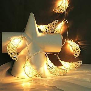 10er Rattan Mond LED Lichterkette, Dapei 1.1M Kupferdraht Lichterketten AA Batteriebetrieben Micro LED Stimmungslicht für Weihnachten Hochzeiten Party Innen und Außen Deko