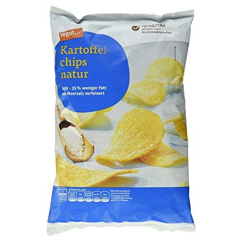 tegut... Kartoffel Chips natur light mit Meersalz verfeinert, 8er Pack (8 x 170 g)