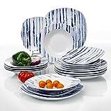 veweet 'Joyce' Servizio da tavola Stoviglie in porcellana18 pezzi Servizio per piatti | per 6 persone | Ognuno con 6 piatti da dessert, 6 piatti di zuppe 6 piastra piatta