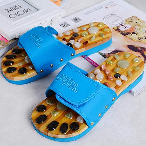 Sandali per massaggio di riflessologia plantare, pantofole antiscivolo per il bagno in ciottoli da bagno, sandali per terapia magnetica con agopuntura a quattro stagioni piede, blue_38-40, sandali p