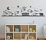 tjapalo® GR-pk142 Wandtattoo mit Namen Wandtattoo Kinderzimmer Name Schafe süße träume mit Wunschname (B100 x H28 cm)