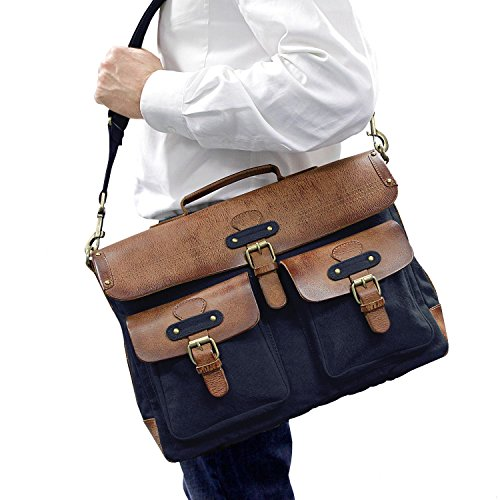 "DRAKENSBERG Kimberley Messenger Laptop Bag, 15"", Umhängetasche, Laptop Tasche, Canvas, Leder, Vintage, Safarilook, beige, khaki, braun Navy Blau"