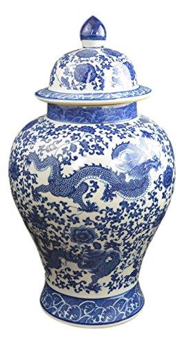 50,8cm Klassisches Blau und Weiß Porzellan floral Tempel Jar Vase, China Ming Stil, Jingdezhen, frei Holz Boden (Ginger Jar Vase)