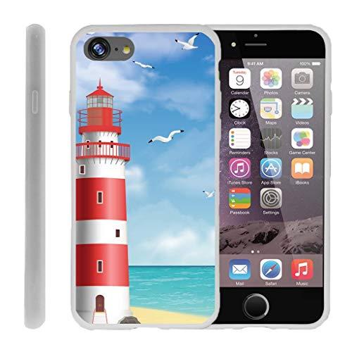 TurtleArmor Schutzhülle für Apple iPhone 7 (11,9 cm / 4,7 Zoll), Flexibler Schutz, flexibel, flexibel, TPU, Strand-Design, Lighthouse Pier (Mobile-handys Iphone Virgin 4)