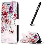 Slynmax Huawei P20 Pro Hülle Leder,Handyhülle Huawei P20 Pro Tasche,Flip Case Cover Schutzhüllen aus Klappetui mit Kreditkartenhaltern, Ständer, Magnetverschluss für Huawei P20 Pro,Vintage Blume