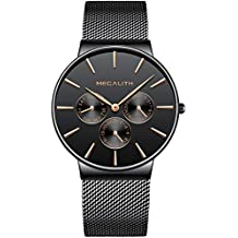 be382bf64f1d Relojes Hombre Negro Relojes de Hombre Lujo Moda Impermeable Fecha  Calendario Diseño Simple Analogicos Cuarzo Relojes