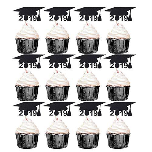 2019 Doktor Hut Form Kuchen Topper Glitter Papier Kuchen Picks Cupcake Decor Party Supplies für Graduation Geburtstag Baby Shower (Schwarz) ()