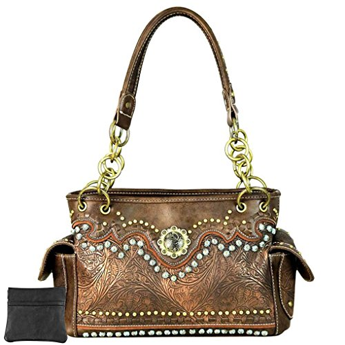 Montana West , Damen Schultertasche Large, Brown Tooled & Berry Concho - Größe: Large Brown Berry