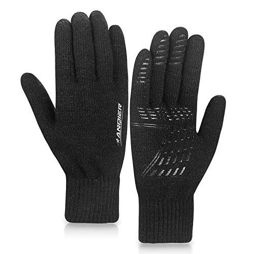 coskefy Winter Warm Gestrickte Touchscreen Handschuhe für Frauen Männer Gloves Wolle Ostern Weihnachten Sport Fahrrad Reiten Camping Wandern Laufen Arbeit Bequem (Damen, Schwarz) -