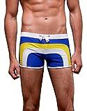 FACAOCI Hombre Bañador Transpirable Suave Seca Rápido Traje de Baño para Hombre Adolescente para Verano Surf Playa Deportes Acuáticos - Azul - ES 38-42