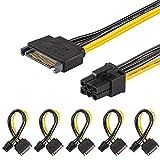 [5 Paquets] J&D Adaptateur de Câble d'Alimentation pour des cartes vidéos graphiques PCI Express (PCIe) de 15 Broches à 6 Broches SATA