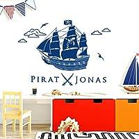 Piratenschiff mit Name Aufbügler  Aufnäher Bügelbild schiff boot skull patch