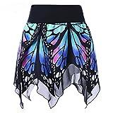 VRTUR Damenrock Schmetterling Faltenrock 50er Tüllrock Petticoat Mode Mädchen Hoch Taille Uniform Kleid (M,Blau)