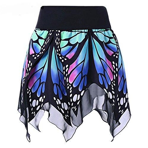 FRAUIT Schmetterlingsdruck Rock Minirock Damen Tanzkleid Bunt Frauen-Schmetterlings-Art- und Weise-reizvoller hoher Taillen-Faltenrock Ballettrock mit Sternchen Perfekt für Fasching