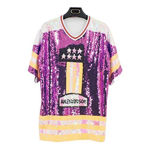 Haodasi Hip Hop T-Shirts Pailletten Jazz Tanzen Performance Kostüm Buchstaben Tops Cheerleading Kleidung