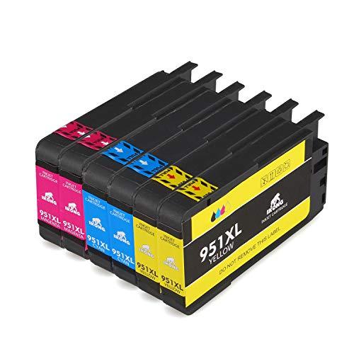 IKONG Kompatibel für HP 951XL 6er-pack 951, Hohe Ausbeute, Arbeiten mit HP Officejet Pro 8610 8600 8620 8615 8100 276DW 251DW 8625 8630 8640 8660 Drucker- 2 Cyan 2 Magenta 2 Gelb)