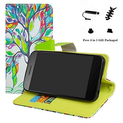 LFDZ Vodafone Smart E8 Hülle, [Standfunktion] [Kartenfächern] PU-Leder Schutzhülle Brieftasche Handyhülle für Vodafone Smart E8 Smartphone (mit 4in1 Geschenk Verpackt),Love Tree