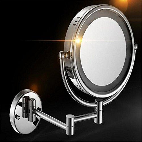 KMY Wandmontage Spiegel,Wandmontierter Verstellbar Teleskop Kosmetikspiegel, Doppelseitig...