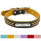 Vcalabashor Hundehalsband mit Namen und Telefonnummer,Hundehalsband Anh?nger mit Gravur,Hundehalsband Leder,M 29-38cm,Gelb