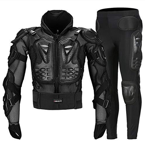 Motorrad Schutzpanzer Motocross Körperschutz Motorrad Radfahren Gepanzerte Jacken + Gears Lange Hosen mit Rücken, Hüften Beine (Mittel) Schutz,XXXXL - Supermoto Jacke