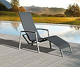 Haberkorn-Garten Edle ALU Kippliege Liege Relaxsessel mit Kippfunktion Calabria Silber/Schwarz