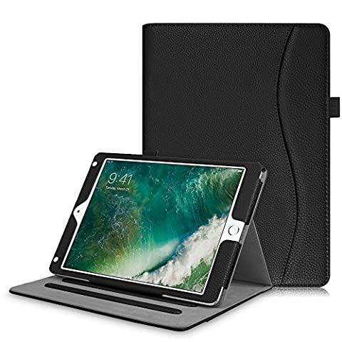 Coque New iPad 9.7 Inch 2017 / iPad Air 2 / iPad Air - Fintie [Protection d'angle] Coque de Protection Multi Angles Folio Stand Housse étui Case Cover avec Pocket et Fonction Sommeil/Réveil Automatique pour Apple Nouvel iPad 9.7 pouces 2017, iPad Air 1 / 2, Noir