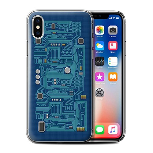 Stuff4 Gel TPU Hülle / Case für Apple iPhone X/10 / Gelb Muster / Leiterplatte Kollektion Blau