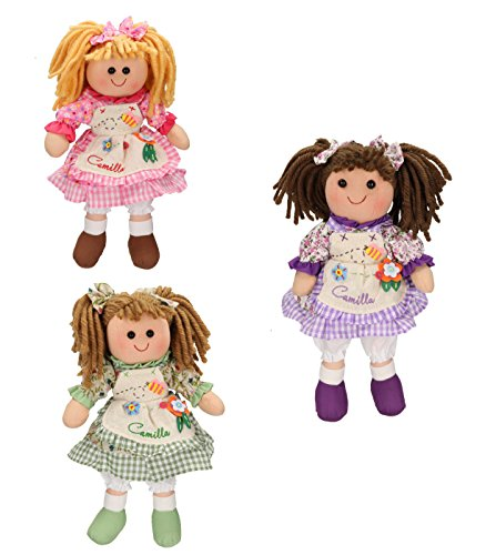 Betz 3 tlg. Kinder Stoffpuppen Set CAMILLA Größe ca.30 cm in 3 verschiedenen Farben (Camilla Stoff Set)