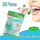 Zahnseide, 200 Stück Cool Mint Zahnpflege Interdental Flosser Zahnreiniger Sticks, Zahnseidensticks, Zahn Draht, Zahnstocher Stick Oralpflege, Minzgeschmack Familie GewöHnliche Zahnpflege (Grün 1)