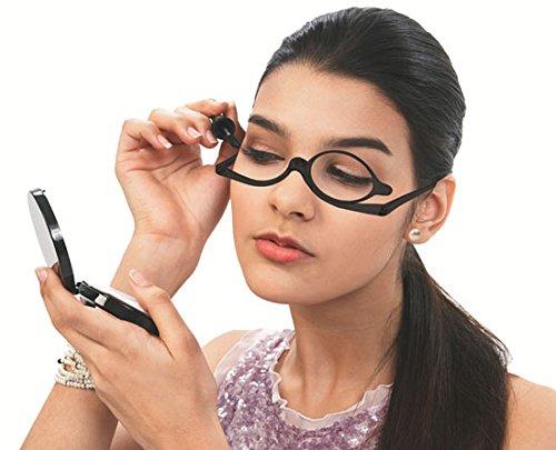 GKA Schminkbrille Schminkhilfe trotz Sehbeeinträchtigung perfekt Schminken Brille Schminklupe 1,0-4,0 Dioptrien (1,5, braun)
