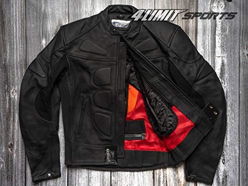4LIMIT Sports Herren Motorradjacke Leder STREETBANDIT Biker Rocker Motorrad Jacke Lederjacke matt schwarz (Leder-motorrad-jacke Schwarz)
