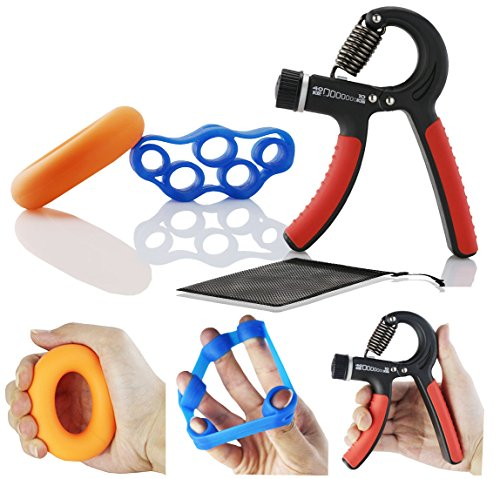 Der&Dies 3 IN 1 einstellbarer Fingertrainer Handtrainer-Set für Fitness,Krafttranieren und Handrehabilitation (Kraftabstufung:10-40...