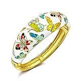 Kami Idea Damen Armreif Armband mit Preciosa Kristall Handgemachte Schmetterling Emaille Geschenke zum Geburtstag Jubiläum Hochzeit Mutter Tochter Mädchen Freundin Frauen Sie