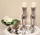 DRULINE 2 x 44 cm Kerzenständer Kerzenleuchter Kerzenhalter Keramik Silber Shabby Chic