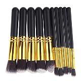 Haushele OFD 10 teile/satz Make-Up Pinsel Lidschatten Pinsel Wimpern Kamm Anfänger Make-Up Professionelle Schönheit Werkzeuge Pinsel(Black)