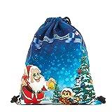 LHWY Damen Umhängetaschen Weihnachten Kordelzug Rucksack Mode Kinder Tasche Weihnachtsmann Schneemann Gedruckt Taschen Candy Geschenktüte (F)