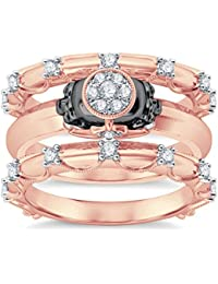 Silvernshine 14K Rose Gold Plated 1.26Ct Round Cut Clear CZ Diamond 3PC Cluster Setting Skull Ring