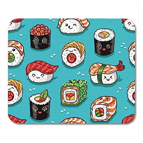 Luancrop Mauspads Blue Manga Cute Cartoon Rolls und Sushi in Kawaii Schmackhaftes Japanisches Essen Spaß Japan Mousepad für Laptop, Desktop-Computer Zubehör Mini Office Supplies Mouse Mats