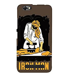 Takkloo working man painting of a iron man,brown background, yellow turban, white kurta) Printed Designer Back Case Cover for Lenovo Vibe C :: Lenovo A2020