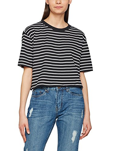 Urban Classic Damen T-Shirt Ladies Short Striped Oversized Tee, Mehrfarbig (Blk/Wht 50), Small (Striped L/s Tee)