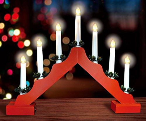 Christmas Concepts® Red Vela De Madera Puente Con Caliente Blanco Luces LED...