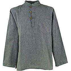 GURU-SHOP, Camisa del Pescador de Nepal Goa Hippie, Gris, Algodón, Tamaño:XL, Camisas de Hombre