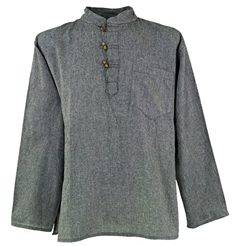 Guru-Shop Nepal Fischerhemd Goa Hippie, Herren, Grau, Baumwolle, Size:L, Männerhemden Alternative Bekleidung