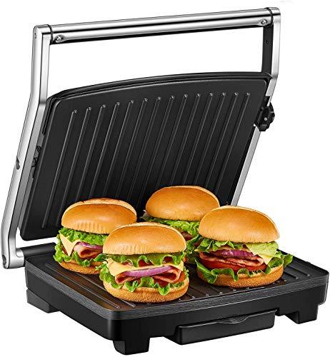 Deik bistecchiera elettrica, 2000w oversized tostapane piastra con pendenza che rimuove il grasso, rivestimento ceramico antiaderente, lndicatore luminoso, stoccaggio verticale