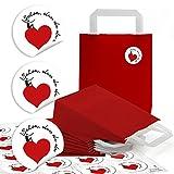 10 kleine rote Papiertüten Boden Papiertaschen Henkel 18 x 8 x 22 cm + 24 runde Aufkleber 4 cm Herzmensch weiß SCHÖN DASS DU DA BIST Verpackung Mitgebsel give-away Geschenktüten